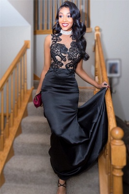 Black See Through Lace Tulle Prom Dress with Crystals |  Sexy Beads Evening Dress with Long Train_4