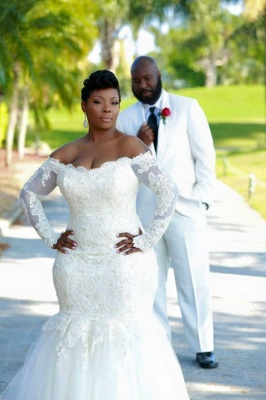 Sexy Mermaid Long Sleeve White Wedding Dress Off Shoulder Lace Plus Size Bridal Gowns BA3118_1