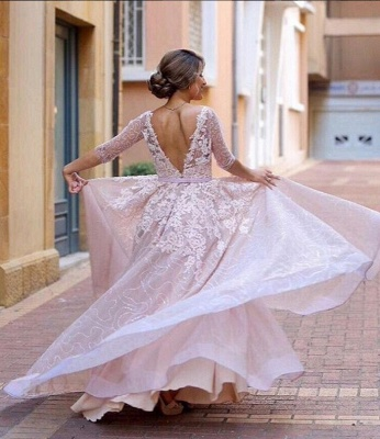 Half-Sleeve Long Tulle Applique A-Line Pink Prom Dresses_5