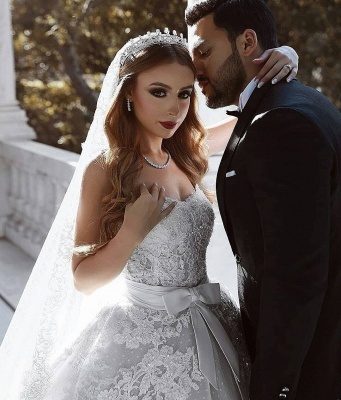 Stunning Sweetheart Sleeveless Lace Wedding Dresses Appliques Over-Skirt Bridal Gowns with Bows_5