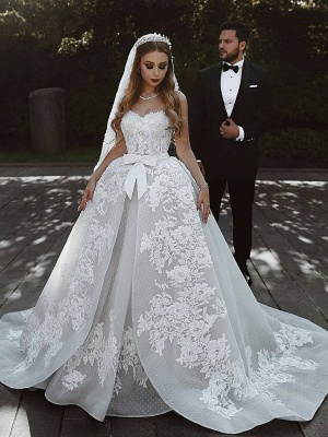 Stunning Sweetheart Sleeveless Lace Wedding Dresses Appliques Over-Skirt Bridal Gowns with Bows_1