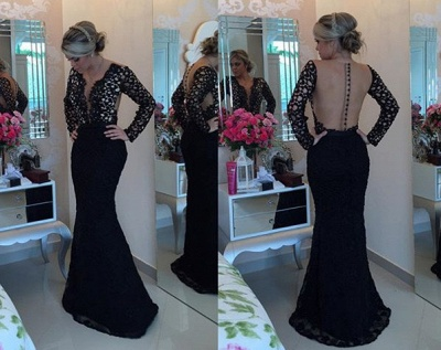 Deep V-Neck Long Sleeve Black Lace Evening Gowns Sexy Mermaid Sweep Train Formal Occasion Dress BMT005_3