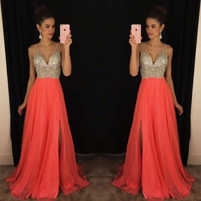 Sexy V-neck  Prom Dresses Long Side Slit Chiffon Evening Dress with Sequins GA034_2