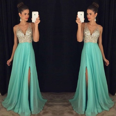 Sexy V-neck  Prom Dresses Long Side Slit Chiffon Evening Dress with Sequins GA034_3