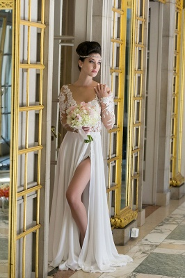 Plunging Neck Long Sleeve Summer Wedding Dress Chiffon Split  Beach Bridal Gowns_3