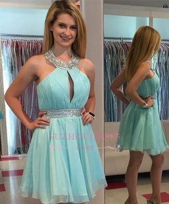 Pretty Beading Chiffon Halter Sleeveless Mini  Homecoming Dresses_1