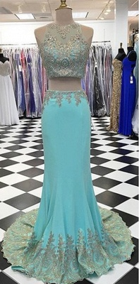 New Arrival Two Piece Mermaid  Prom Dress Crystal Sleeveless Long Evening Gowns_1