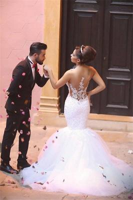 Elegant Lace Beaded Wedding Dresses  Mermaid Sheer Tulle Bride Dress WE0010_5