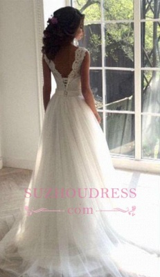 Sash Open Back Sleeveless  Bride Dress A-line Simple Lace Summer Beach Wedding Dresses_3