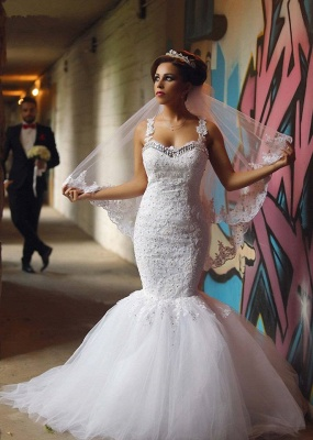 Elegant Lace Beaded Wedding Dresses  Mermaid Sheer Tulle Bride Dress WE0010_8