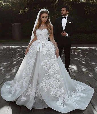 Stunning Sweetheart Sleeveless Lace Wedding Dresses Appliques Over-Skirt Bridal Gowns with Bows_3