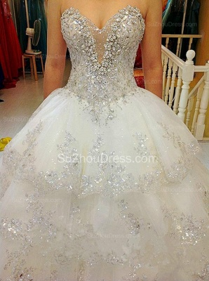 Glarmours Bridal Dresses Sequined Beading Crystal Tiered Sweep Train Ball Gown Chiffon Wedding Gowns_1