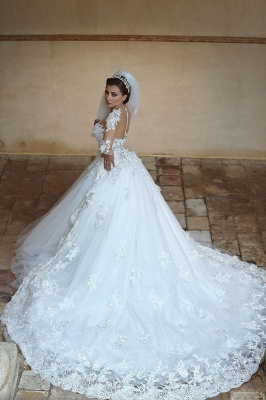 Beautiful White Tulle Ball Gown Wedding Dress Court Train Lace Plus Size Bridal Gowns_3