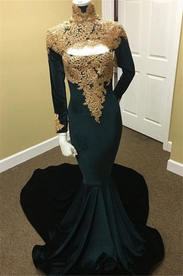 Gold Lace Black Prom Dresses  | Long Sleeve Mermaid Evening Dress with Keyhole_1