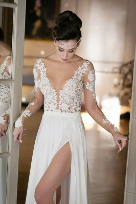 Plunging Neck Long Sleeve Summer Wedding Dress Chiffon Split  Beach Bridal Gowns_6
