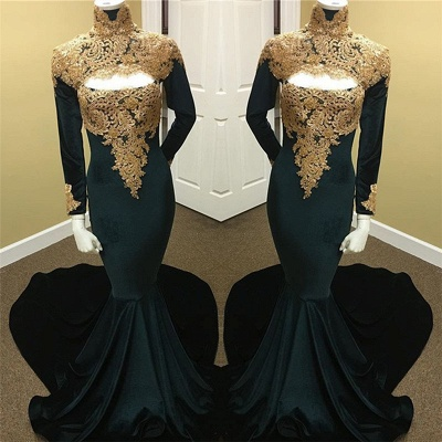 Gold Lace Black Prom Dresses  | Long Sleeve Mermaid Evening Dress with Keyhole_3