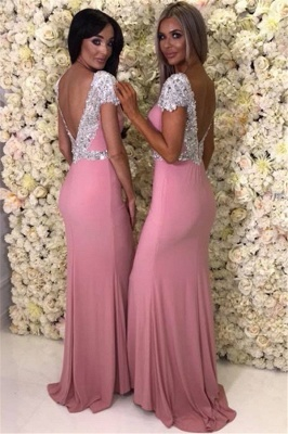 Cap Sleeve Silver Beads Crystals Bridesmaid Dresses  | Open Back Sexy Pink Maid Of Honor Dress_4