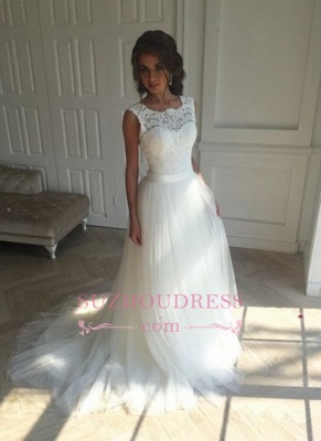 Sash Open Back Sleeveless  Bride Dress A-line Simple Lace Summer Beach Wedding Dresses_5