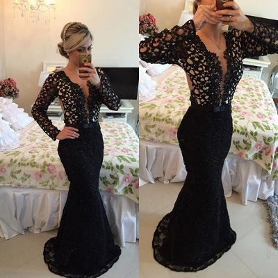 Deep V-Neck Long Sleeve Black Lace Evening Gowns Sexy Mermaid Sweep Train Formal Occasion Dress BMT005_2