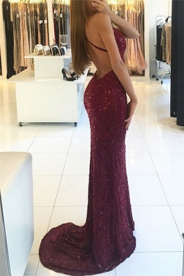 Sexy Burgundy Shiny Sequins Evening Gowns V-neck Straps Backless Formal Prom Dress BA6854_3