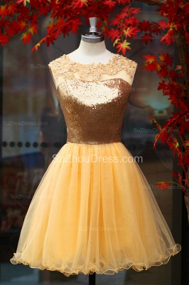 Yellow Prom Dresses  Jewel Sequined Appliques Zipper Ruched A Line Organza Short Evening Gowns_6