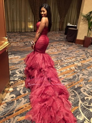 Sexy Ruffles Mermaid Red Sweetheart Sleeveless Prom Dresses_1