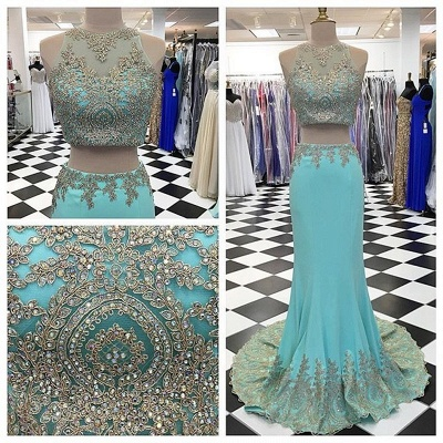 New Arrival Two Piece Mermaid  Prom Dress Crystal Sleeveless Long Evening Gowns_3