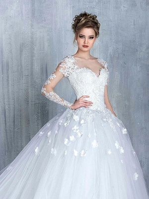 New Arrival Long Sleeve Lace Bridal Gowns Tulle Open Back Court Train Wedding Dresses_1