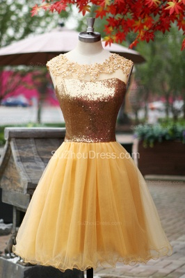 Yellow Prom Dresses  Jewel Sequined Appliques Zipper Ruched A Line Organza Short Evening Gowns_1