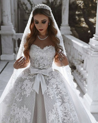 Stunning Sweetheart Sleeveless Lace Wedding Dresses Appliques Over-Skirt Bridal Gowns with Bows_4