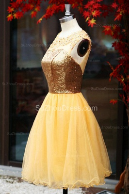 Yellow Prom Dresses  Jewel Sequined Appliques Zipper Ruched A Line Organza Short Evening Gowns_2