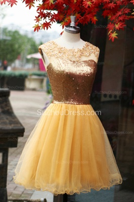 Yellow Prom Dresses  Jewel Sequined Appliques Zipper Ruched A Line Organza Short Evening Gowns_4