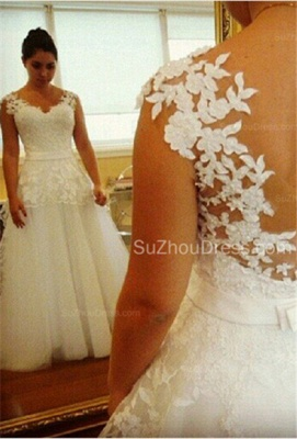 Modern Wedding Gowns V Neck Appliques Pearls Covered Button A Line Lace Bridal Dresses_1