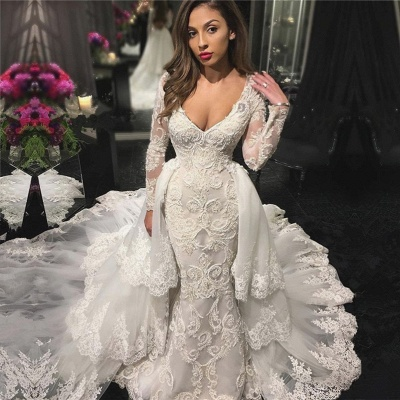 V-neck Beads Appliques Wedding Dresses with Sleeves | Mermaid Overskirt Sexy Bride Dresses_3
