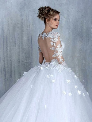 New Arrival Long Sleeve Lace Bridal Gowns Tulle Open Back Court Train Wedding Dresses_3