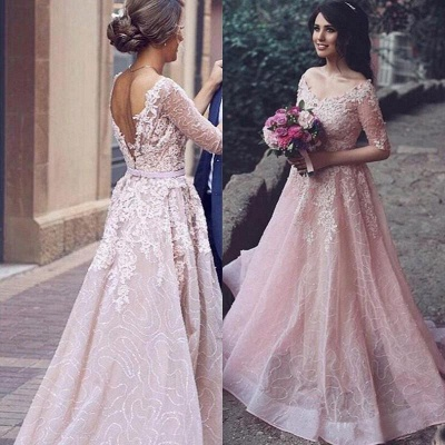 Half-Sleeve Long Tulle Applique A-Line Pink Prom Dresses_4