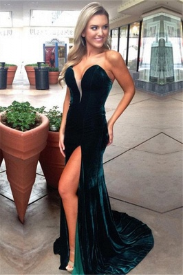 Simple Dark Green Velvet Strapless Prom Dresses  Mermaid Side Slit Prom Dresses_1