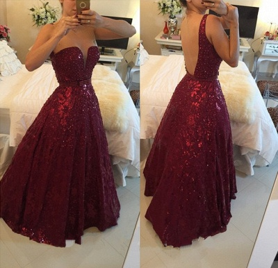 A-Line Burgundy Sweetheart Crystal Evening Dress with Beadings Open Back Floor Length Prom Gowns BMT023_2