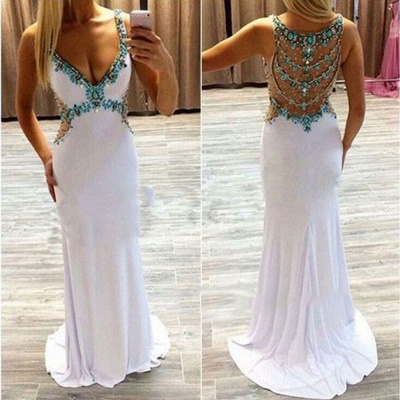White  Prom Dresses Turquoise Crystals Open Back Evening Gowns_3