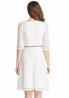 A-Line White Half Sleeve Summer Dresses Lace Knee Length Short Homecoming Gowns_3
