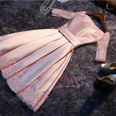 Newest Short Pink Homecoming Dress Half-Sleeves A-Line Off-the-Shoulder Party Dresses_1