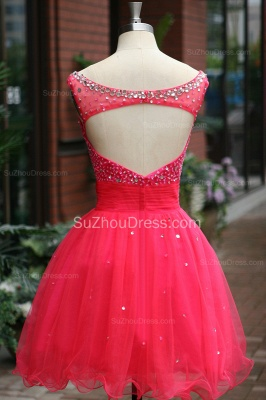 Peachblow Prom Dresses Scoop Beading Crystal Ruched A Line Sleeveless Zipper Organza Short Evening Gowns_3