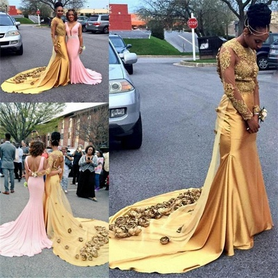 Gold Lace Prom Dresses with Flowers | Open Back Long Sleeve Popular Evening Gown_3