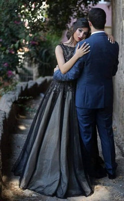 A-Line Popular Black Lace Long Prom Dress New Arrival Custom Made Formal Occasion Dresses MH028_2