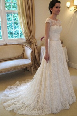 A-Line Short Sleeve Court Train Wedding Dress New Arrival Bowknot Custom Made Bridal Gown_1