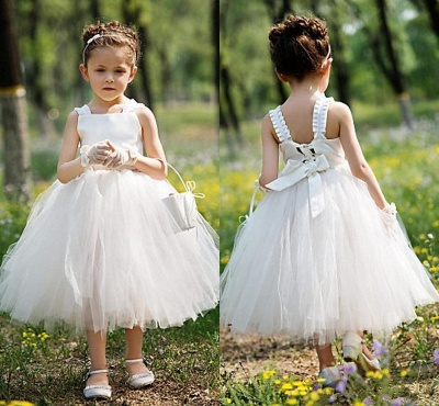 Tea Length Ball Gown Baby Flower Girl Dresses Cute Tulle Sleeveless Children Gowns_3
