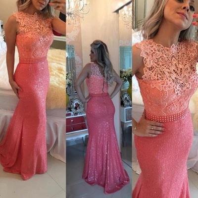 Elegant Sequined Lace Evening Dresses | Sleeveless Sheath Prom Dresses with Beaings_3