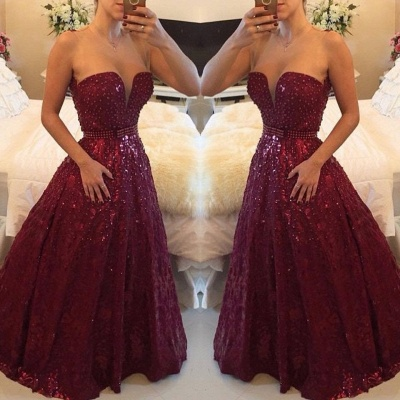 A-Line Burgundy Sweetheart Crystal Evening Dress with Beadings Open Back Floor Length Prom Gowns BMT023_3