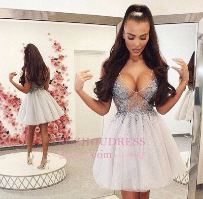 Short Sleeveless Beading Homecoming Dresses Sexy V-neck Lace Sexy Cocktail Dress_1