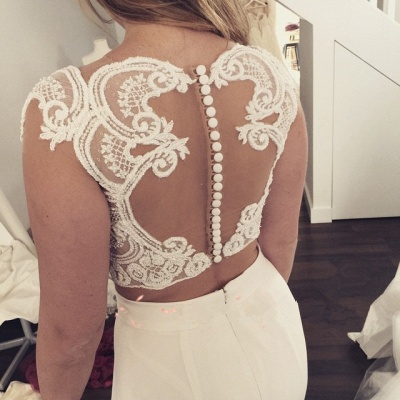 Two Piece Lace Wedding Dress  Front Split Buttons Summer Outdoor Wedding Gowns_4
